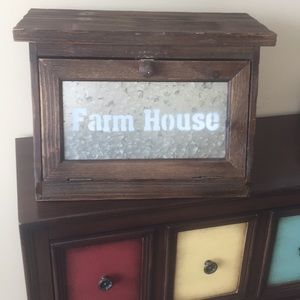 Rustic farmhouse wooden bread box functional decor